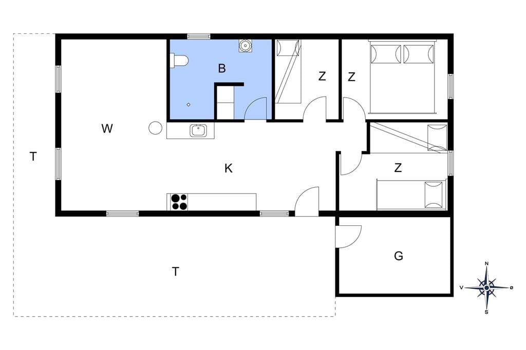 Indretning 1-13 Sommerhus 722, Hættemågevej 22, DK - 7760 Hurup Thy