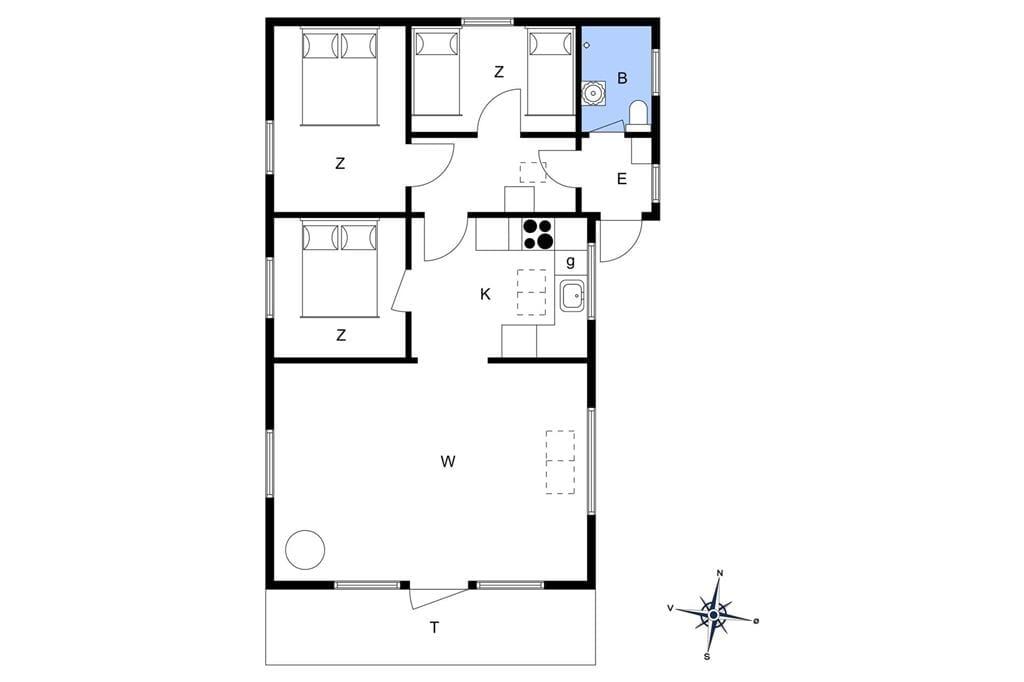 Indretning 1-174 Sommerhus M20002, Urhanevej 4, DK - 4874 Gedser