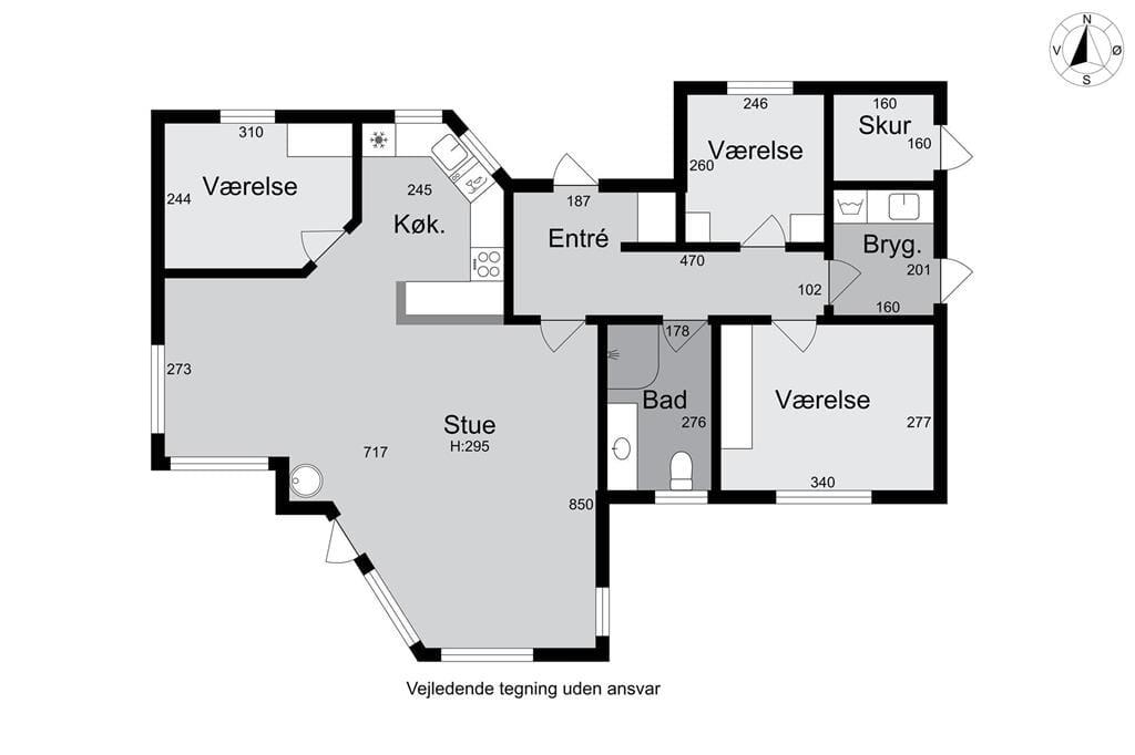 Indretning 1-174 Sommerhus M15018, Ligustervej 10, DK - 4873 Væggerløse