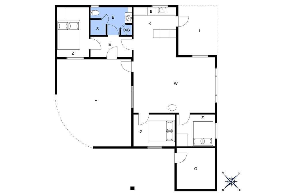 Indretning 1-14 Sommerhus 1375, Agathevej 4, DK - 9480 Løkken