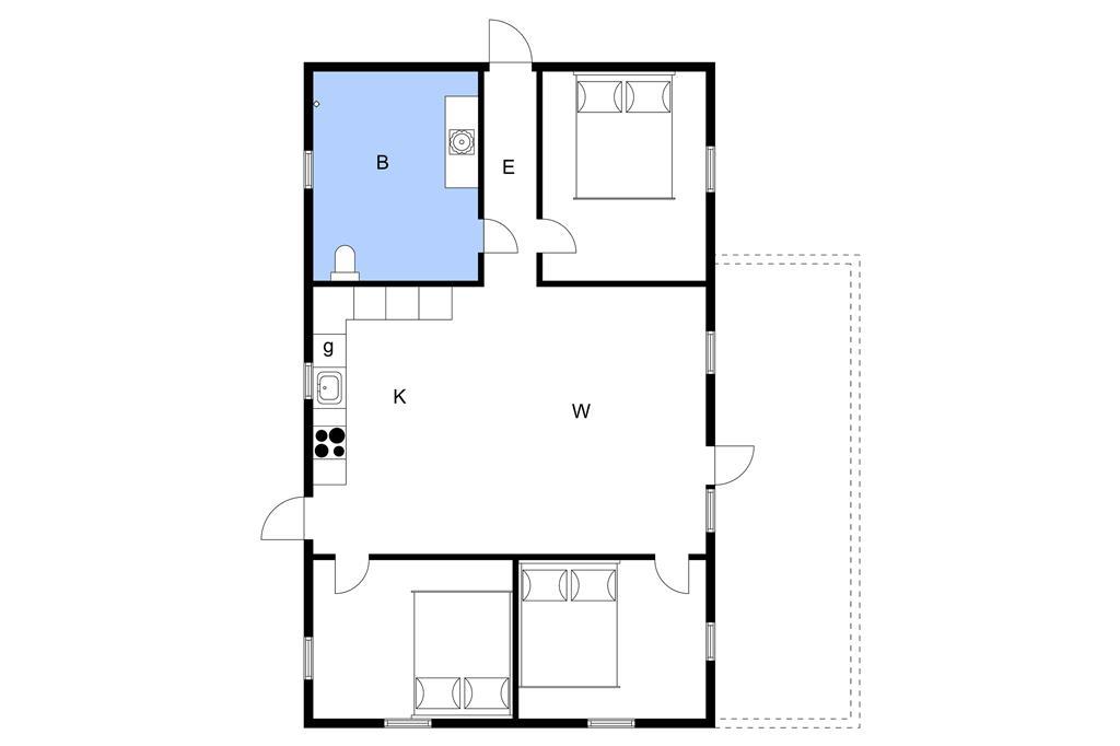 Indretning 1-3 Sommerhus L142021, Følvigvej 42, DK - 7870 Roslev