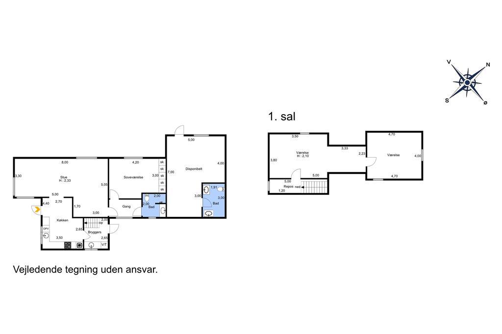 Indretning 1-11 Sommerhus 0535, Sejerslevvej 5, DK - 6280 Højer
