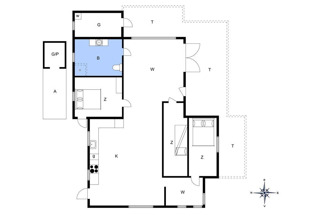 Inredning 1-14 Stuga 964, Klitvejen 28, DK - 9492 Blokhus