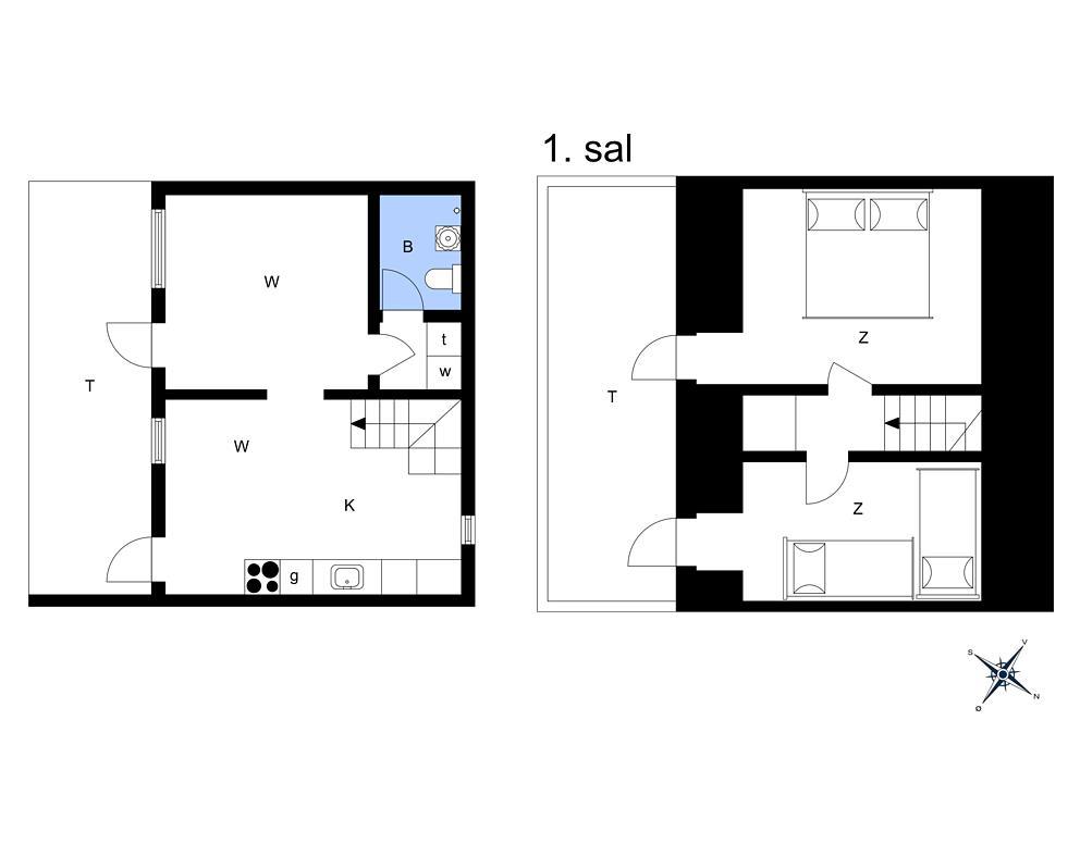 Innenausstattung 1-14 Ferienhaus 1260, Strandvejen 14, DK - 9492 Blokhus