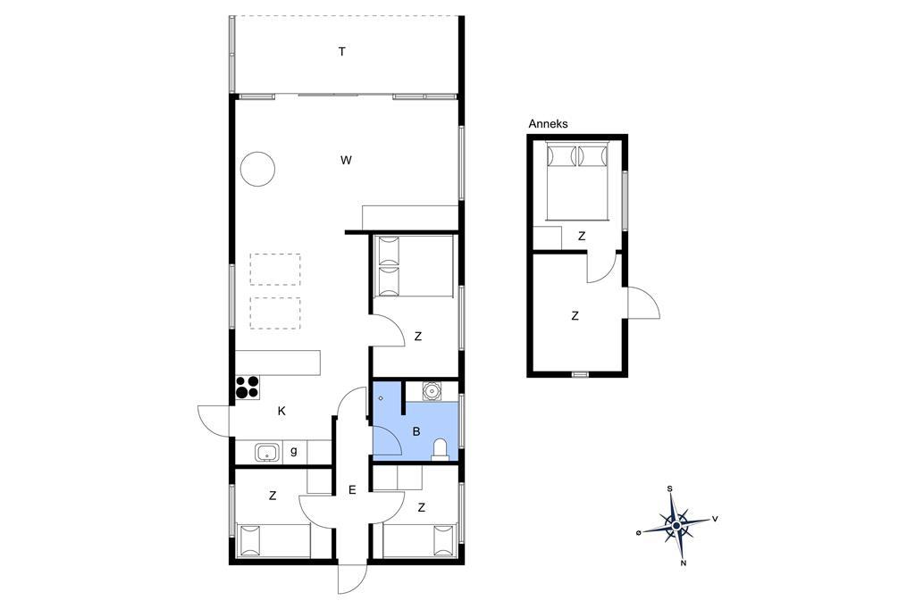 Indretning 1-15 Sommerhus 1079, Kristtjørnvej 45, DK - 4780 Stege