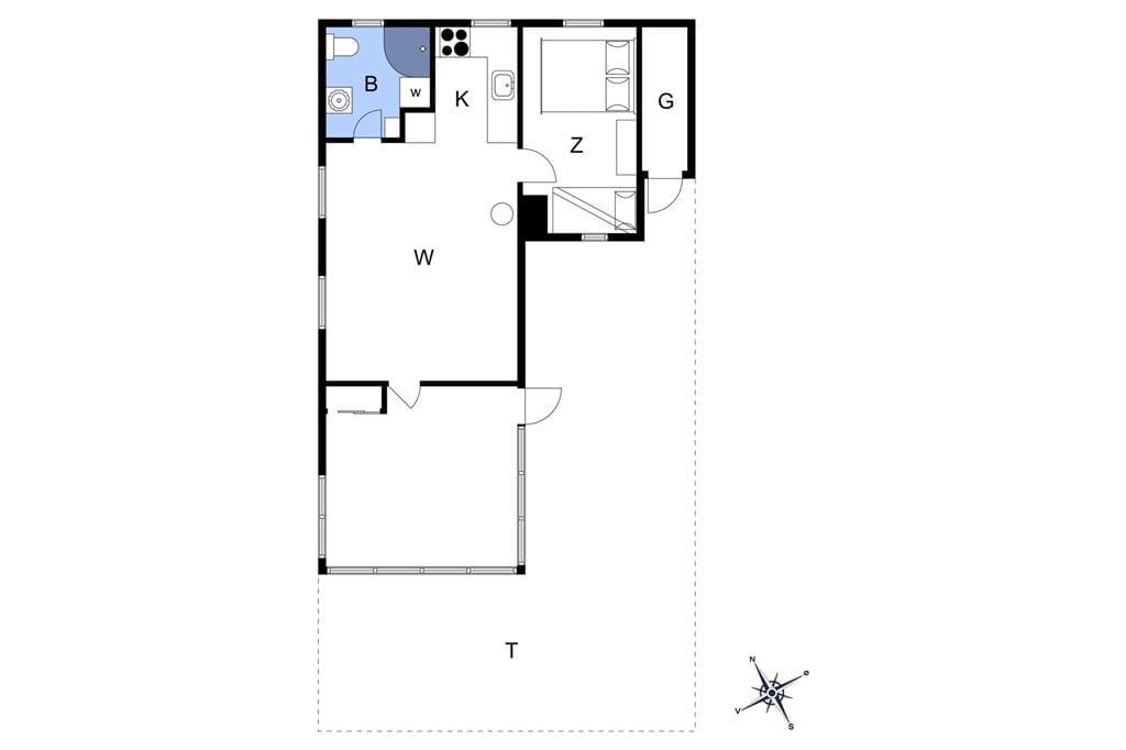 Inredning 1-13 Stuga 460, Klitgryden 10, DK - 7770 Vestervig