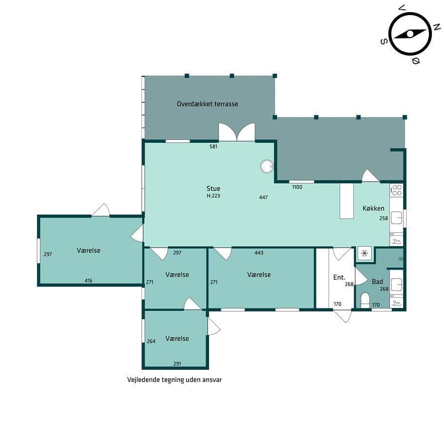 Indretning 1-174 Sommerhus M13018, Hejrevej 4, DK - 4873 Væggerløse