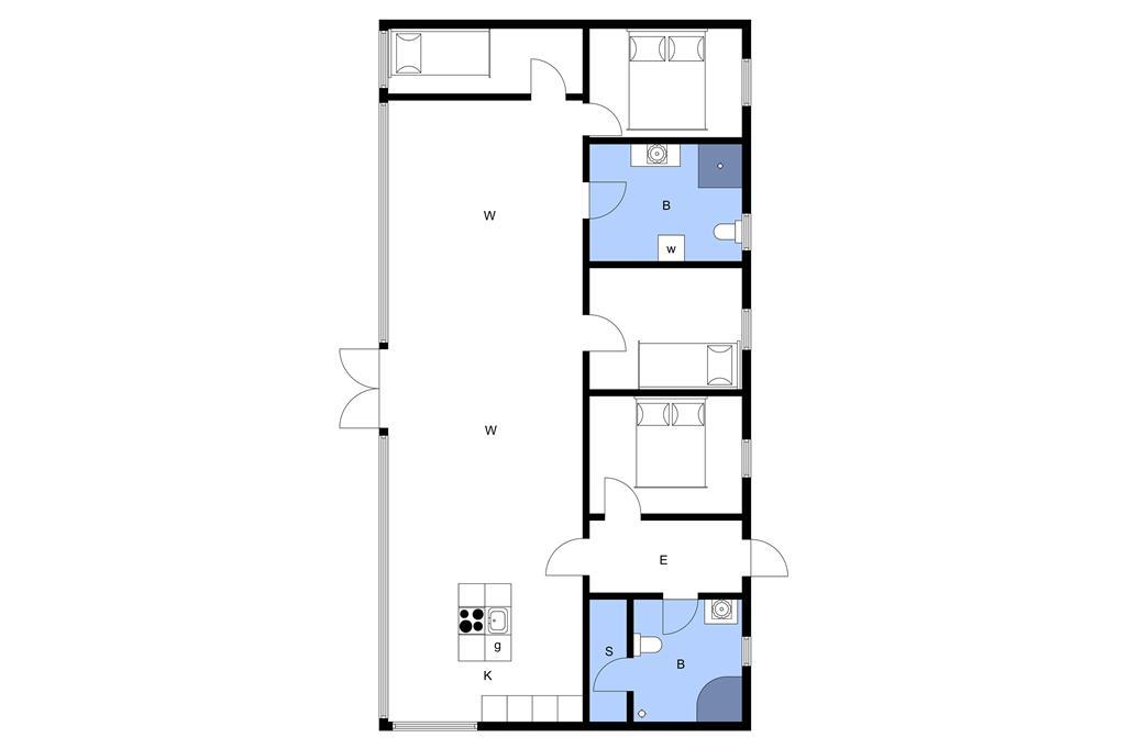 Indretning 1-3 Sommerhus M67333, Piledybet 52, DK - 5932 Humble