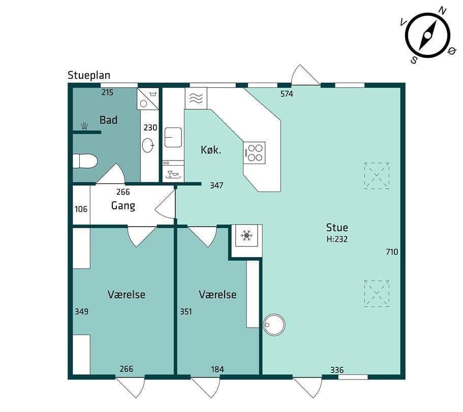 Indretning 1-174 Sommerhus M15011, Mælkebøttevej 35, DK - 4873 Væggerløse
