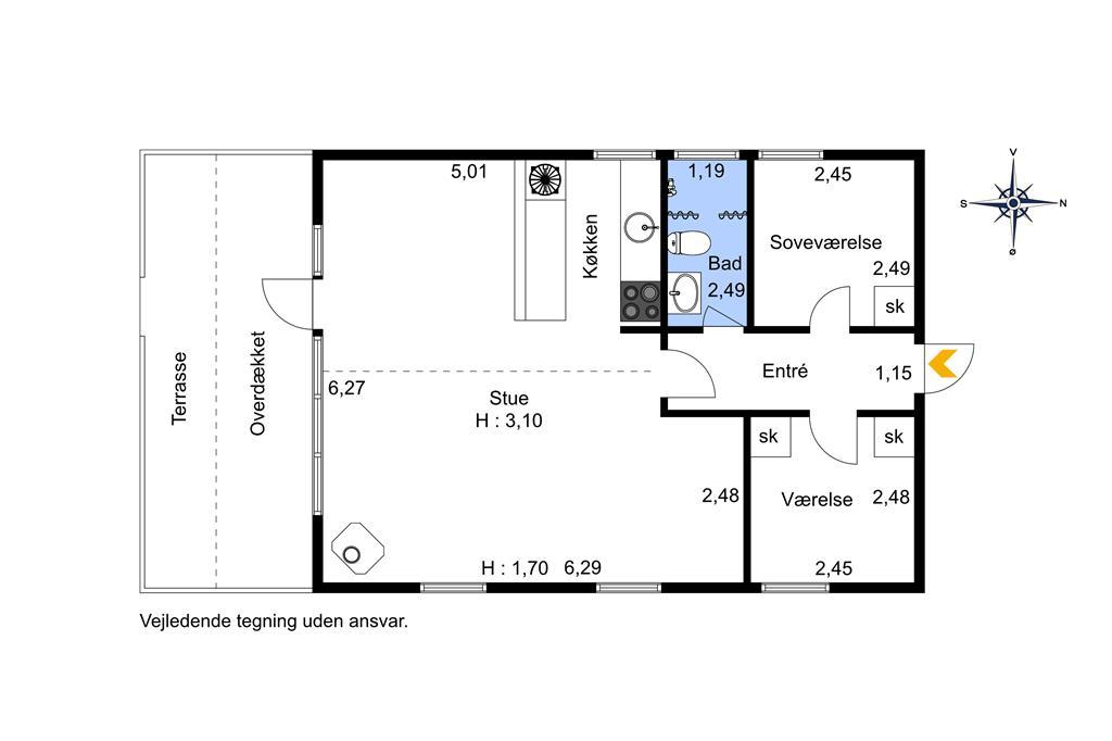 Indretning 1-401 Sommerhus HA241, Knudsvej 11, DK - 9370 Hals