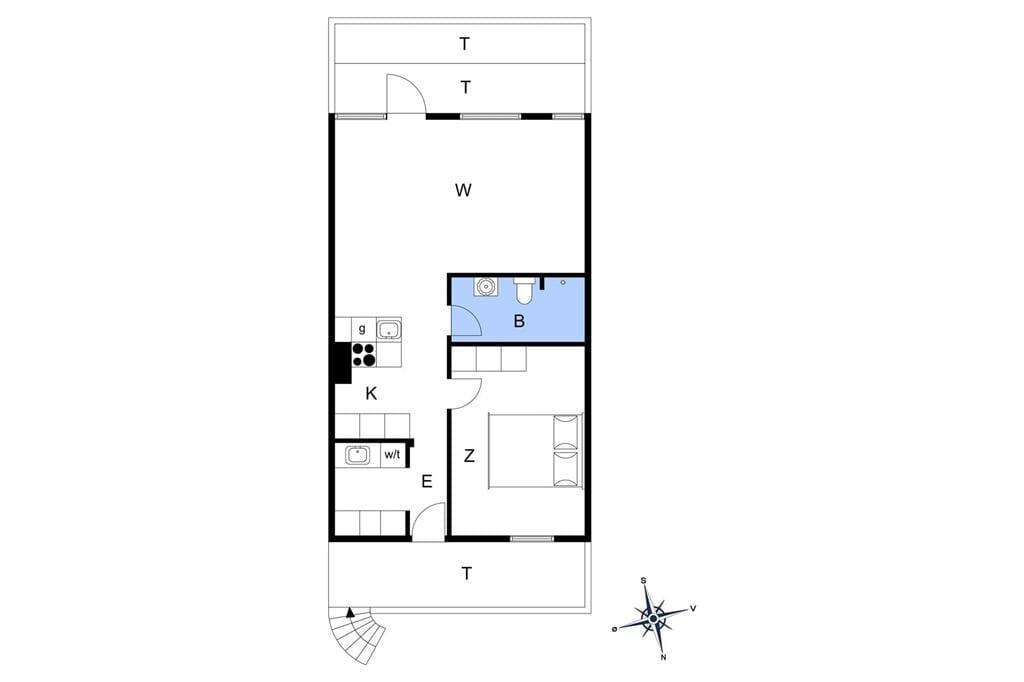 Indretning 1-11 Sommerhus 0268, Nordre Havnevej 26, DK - 6792 Rømø