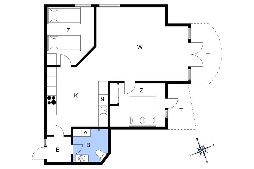 Indretning 1-401 Sommerhus HA259, Portlandsvej 97, DK - 9370 Hals