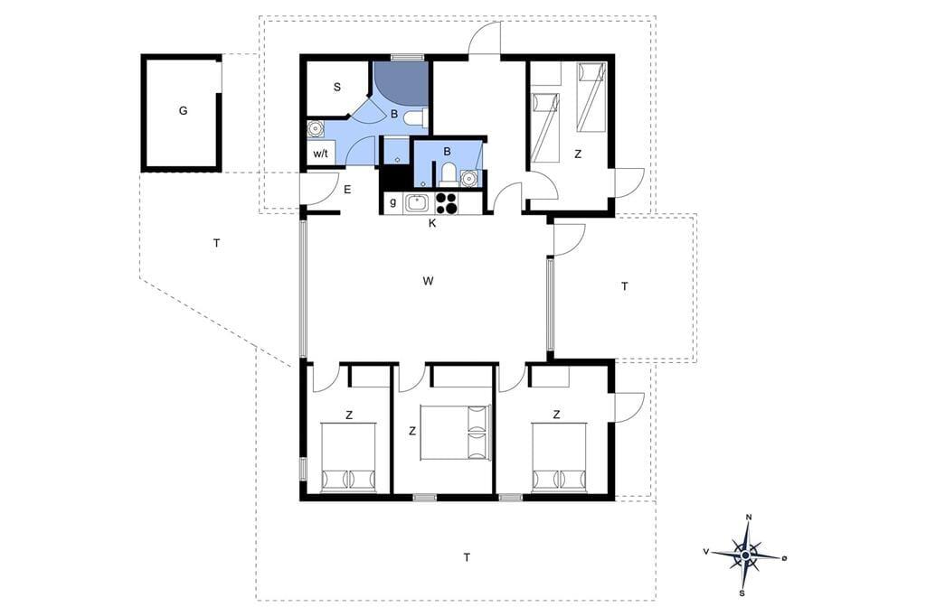 Indretning 1-401 Sommerhus HA150, Kystvejen 40, DK - 9370 Hals