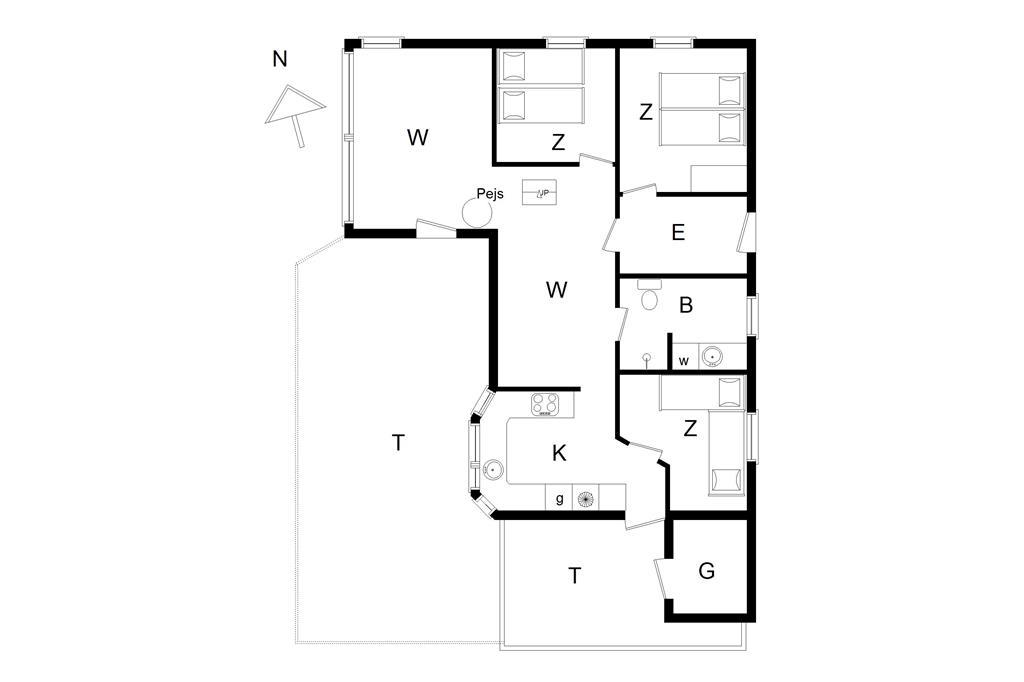 Innenausstattung 1-14 Ferienhaus 1005, Kragestranden 14, DK - 9850 Hirtshals