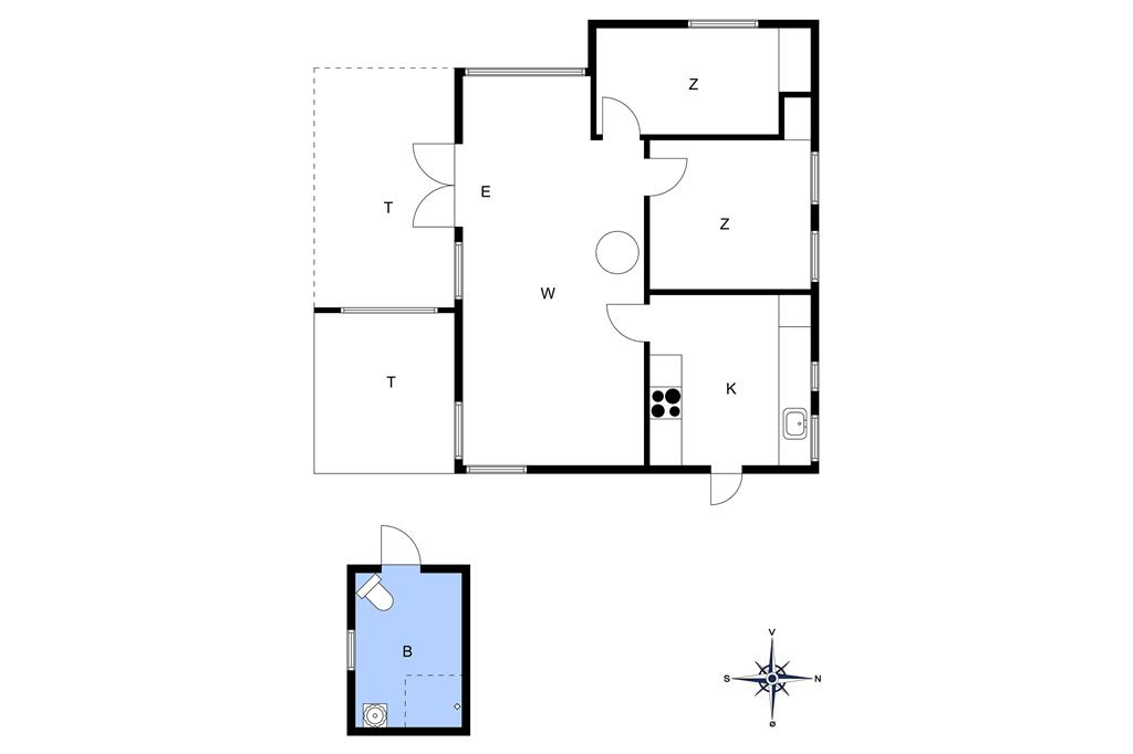 Indretning 1-26 Sommerhus SL243, Hybenvej 30, DK - 4230 Skælskør
