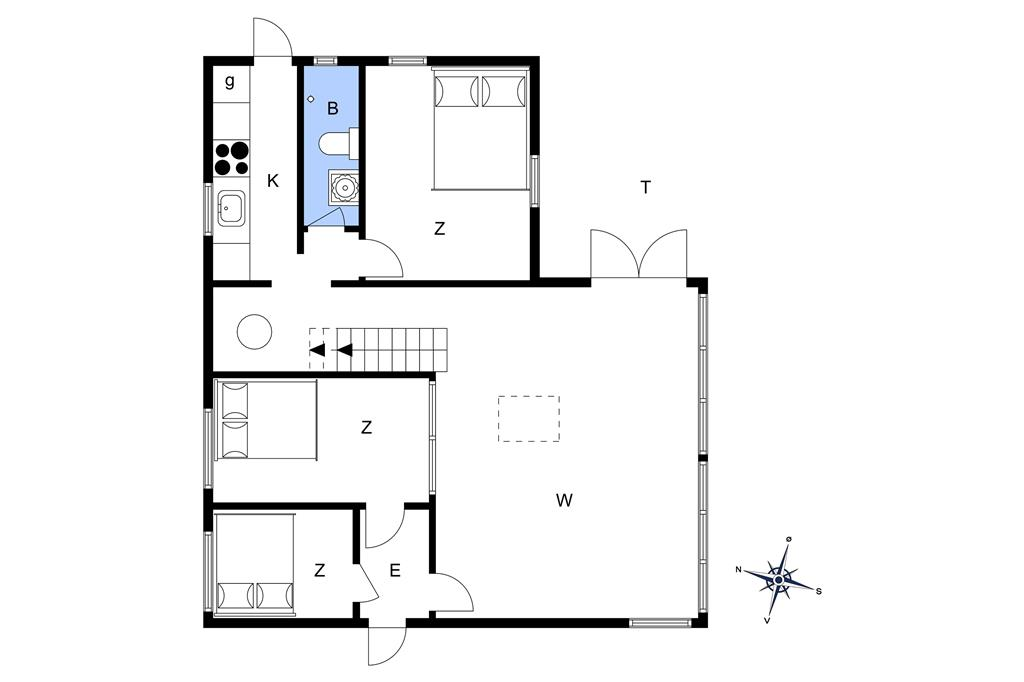 Indretning 1-15 Sommerhus R600, Højager 4, DK - 4673 Rødvig