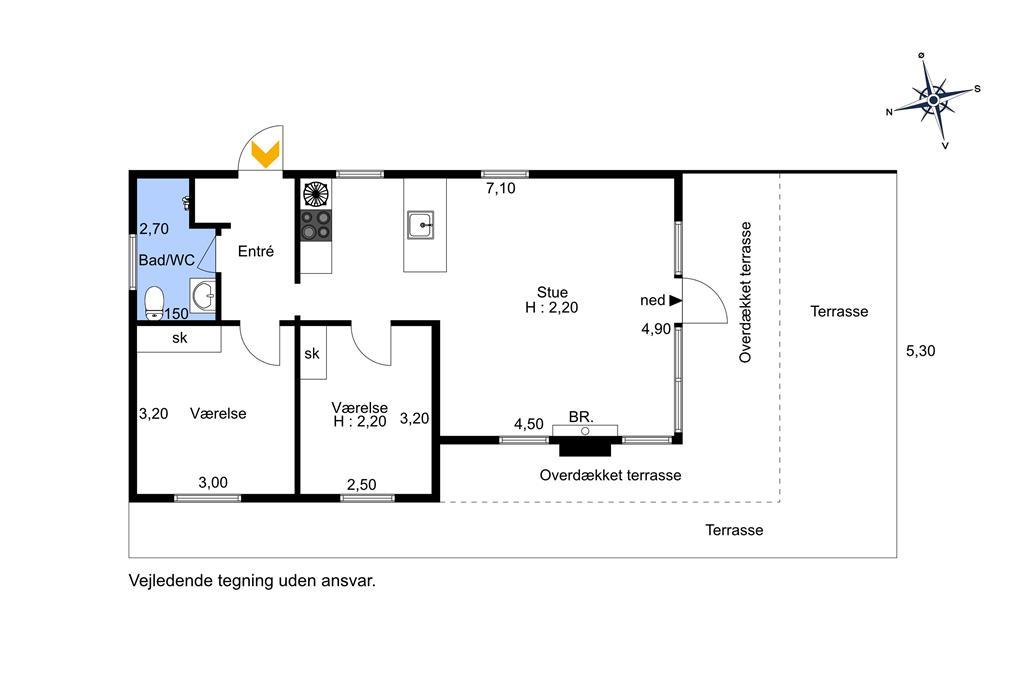Indretning 1-174 Sommerhus M17008, Snepudevej 14, DK - 4873 Væggerløse